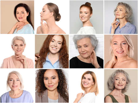 Collage of women with beautiful faces against color background Reklamní fotografie