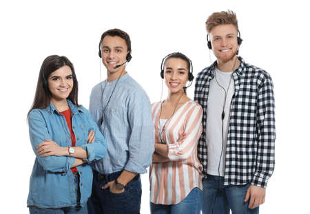 Technical support operators with headsets on white background
