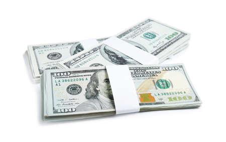 Dollarbankbiljetten op witte achtergrond. Amerikaanse nationale valuta Stockfoto