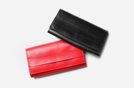 Stylish leather wallets on white background, top view Banco de Imagens