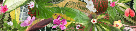 Beautiful tropical leaves and flowers as background. Banner design
