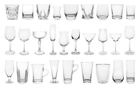 Set of different empty glasses on white background Stock Photo - 124386916
