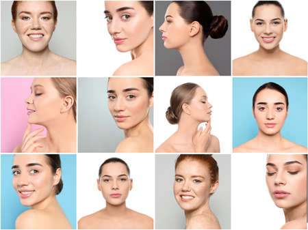 Collage of women with beautiful faces against white background