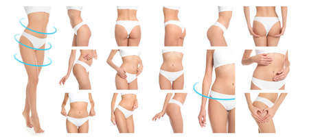Set of attractive young woman with slim body in underwear on white background, closeup Stock Photo