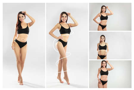 Set of attractive young woman with slim body in underwear on light background