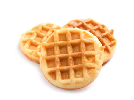 De délicieuses gaufres pour le petit déjeuner sur fond blanc Banque d'images