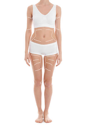 Slim woman in underwear on white background, closeup. Weight loss concept