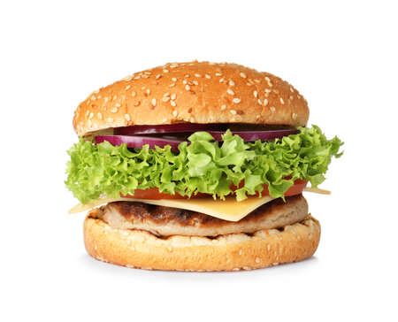 Burger frais savoureux avec escalope isolated on white