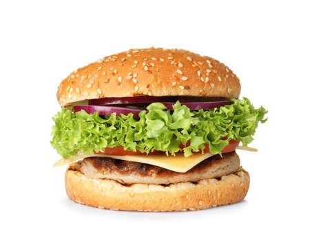 Leckerer frischer Burger mit Schnitzel isoliert auf weiß