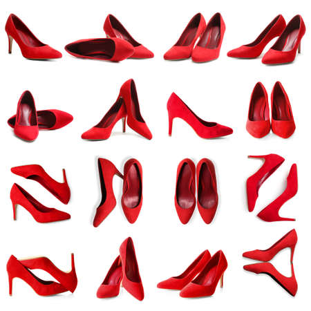 Set of stylish high heel shoes on white background