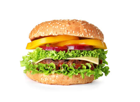 Tasty fresh burger with cutlet isolated on white