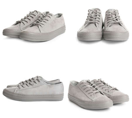 Set of stylish shoes on white background 版權商用圖片