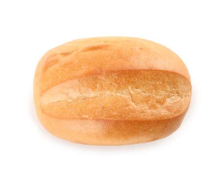Tasty bun isolated on white, top view. Fresh bread
