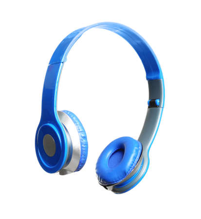 Stylish headphones with pads on white background