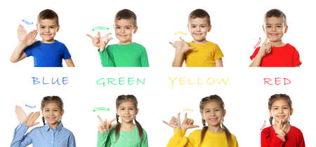 Collage of little children showing different words on white background. Sign language Stock Photo