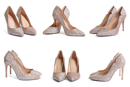 Set of stylish high heel shoes with glitters on white background 版權商用圖片