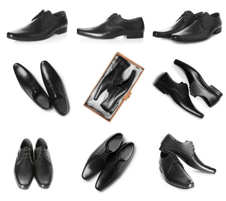Set of elegant male shoes on white background 版權商用圖片
