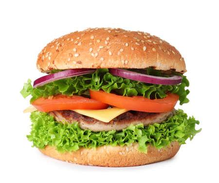 Sabrosa hamburguesa fresca con chuleta aislado en blanco Foto de archivo