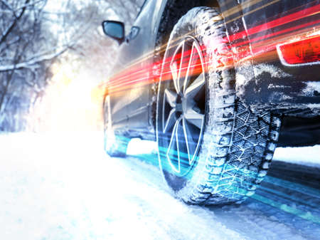 Modern car on snowy country road, closeup. Design with light effects 스톡 콘텐츠 - 124666903