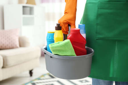 Woman with basin of detergents in living room, closeup. Cleaning service Foto de archivo - 124667040