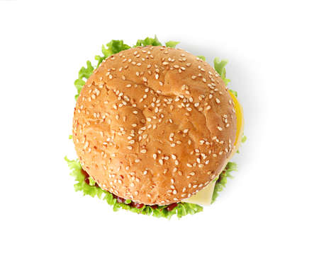 Tasty fresh burger isolated on white, top view Stock Photo