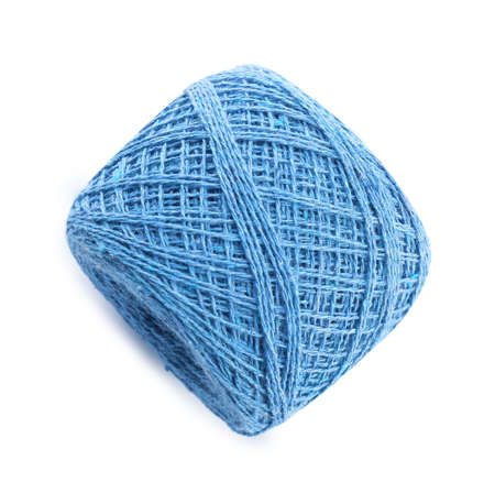 Clew of color knitting thread on white background