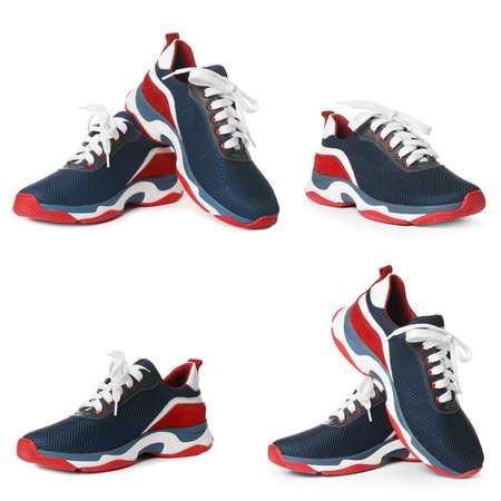 Set of modern training shoes on white background