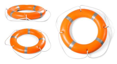 Zestaw pierścieni pomarańczowych kół ratunkowych na białym tle