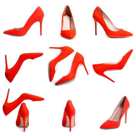 Set of stylish high heel shoes on white background