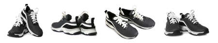 Set of modern training shoes on white background. Banner design