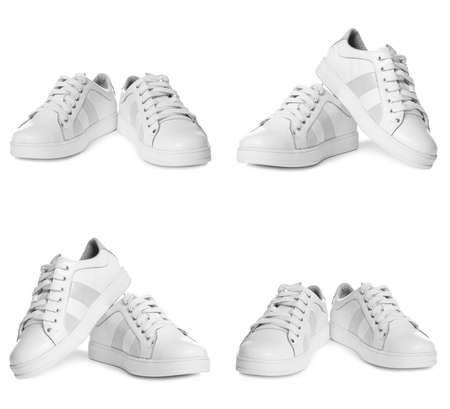 Set of stylish shoes on white background Stock Photo
