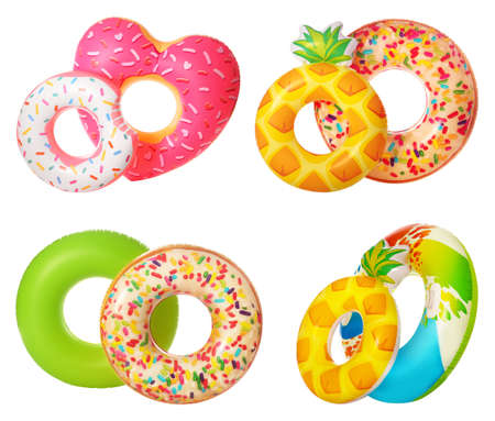 Set of bright inflatable rings on white background Stock fotó