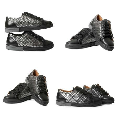 Set of modern black shoes on white background Stock Photo