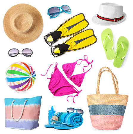 Set of different stylish beach accessories on white background