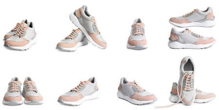 Set of comfortable modern sports shoes on white background