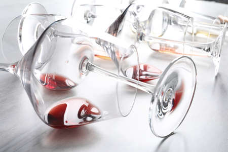 Different glasses with wine on light background, closeup 스톡 콘텐츠