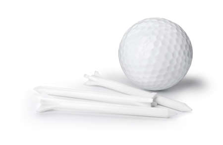 Golf ball and tees on white background. Sport equipment Stock Photo