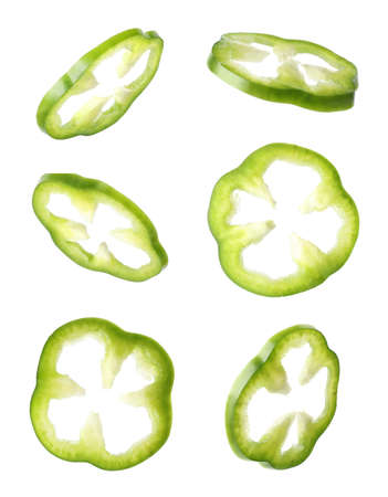 Set of cut fresh bell pepper on white background