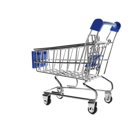 Empty metal shopping trolley isolated on white Stockfoto