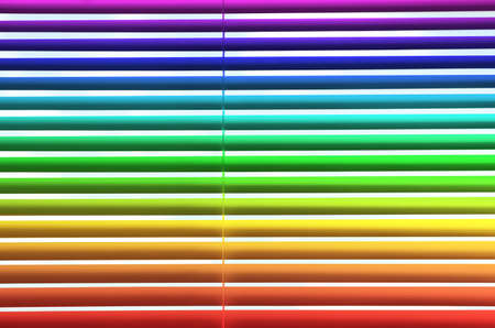 Modern colorful window blinds as background, closeup view