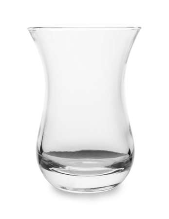 Empty glass for traditional Turkish tea on white background