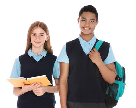 Portrait of teenagers in school uniform on white background Standard-Bild - 124988537