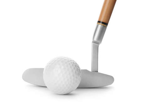 Hitting golf ball with club on white background Stock Photo