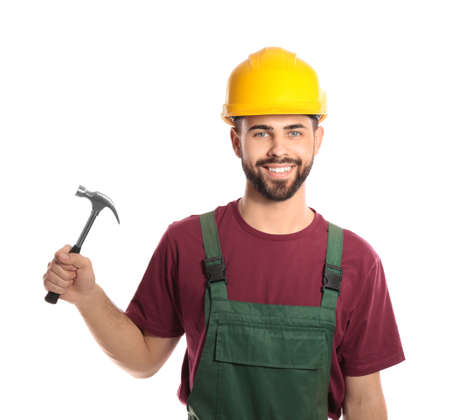 Portrait of construction worker with hammer on white background. Professional tools