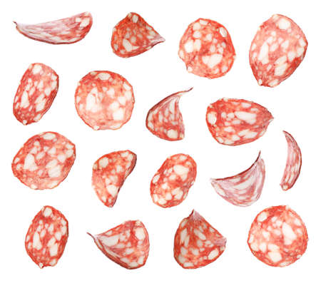 Set of flying cut fresh sausage on white background