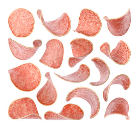 Set of flying cut delicious sausage on white background