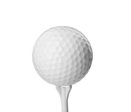 Golfbal en tee op witte achtergrond. Sportuitrusting Stockfoto