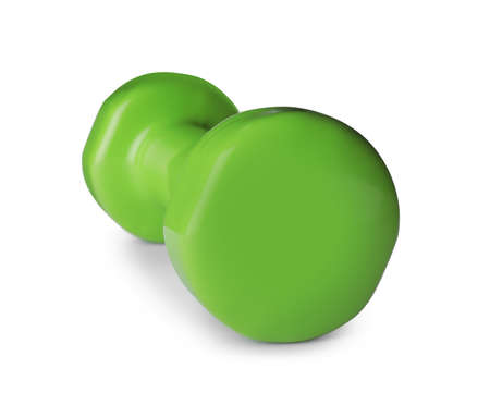 Color dumbbell on white background. Home fitness Imagens - 124878747