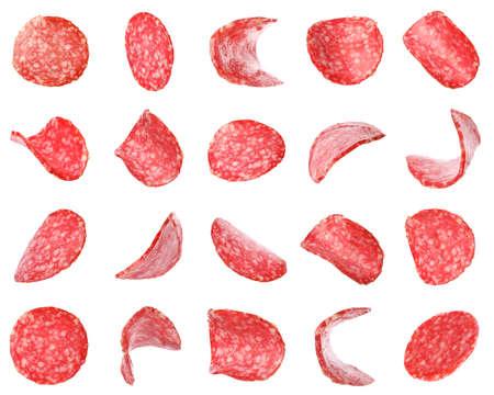 Set of flying cut fresh sausage on white background Reklamní fotografie - 124878833