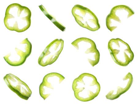 Set of flying cut fresh bell pepper on white background Stock Photo